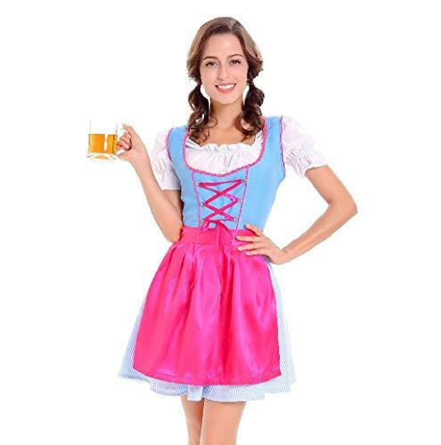 Jazz Custom Kostüm - Damen Oktoberfest Dirndl Kleid, Kleid Dirndl Set Damen 3 TLG, Midi Trachtenkleid Kurzarm Dirndlbluse für Oktoberfest, mit Schürze und Bluse,Schürze TWBB