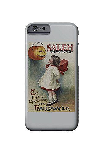 Salem, Massachusetts - Halloween Greeting - Girl in Red and White - Vintage Artwork (iPhone 6 Cell Phone Case, Slim Barely There)