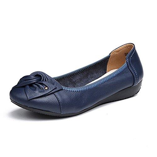 Minetom Damen Elegant Bowknot Runde Zehe Ballerina Flach Komfort Weich Schlüpfen Loafer Mokassin Arbeiten Beiläufig Büro Blau