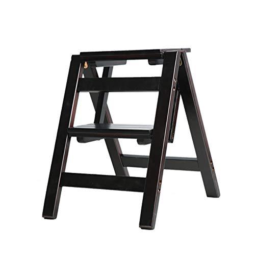 Stool Ladder- Escabeau en bois massif, escabeau à deux marches, multi-fonction, échelle portable, support à fleurs (Couleur : Marron foncé)