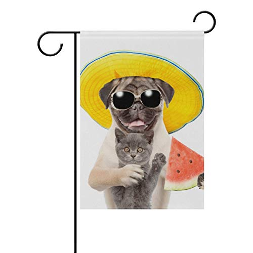 ASKYE Garden Flag Decorative Cute Dog with Cat Summer Polyester Double Sided Printed for Outdoor Courtyards(Size: 12.5inch W X 18 inch H) (Cat-namen Halloween Cute)