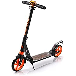 meteor® CITY SCOOTER METEOR CITY patinete Big Wheel Patinete plegable Roller, niños y adultos, muy duradera – Hasta 100 kg, compatible con el Estándar de seguridad europeas (Negro - naranja)