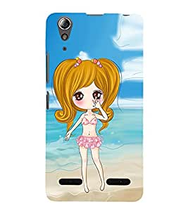 Vizagbeats Animated Girl Beach Background Back Case Cover for Lenovo A6000