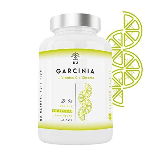 Garcinia Cambogia Extra Fort Vitamine C Chrome HCA 60% Brûleur de Graisse Minceur 100% Naturel Thermogénique Coupe-faim Effet. 1150mg. 120 Capsules Végétale. Certifié VÉGAN.UE. N2 Natural Nutrition