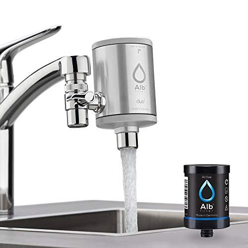 Alb Filter® Duo Active Trinkwasserfilter | Armatur Anschluss | Filtert Schadstoffe, Chlor, Blei, Pestizide, Mikroplastik | Set mit Gehäuse und Kartusche | Made in Germany Silber