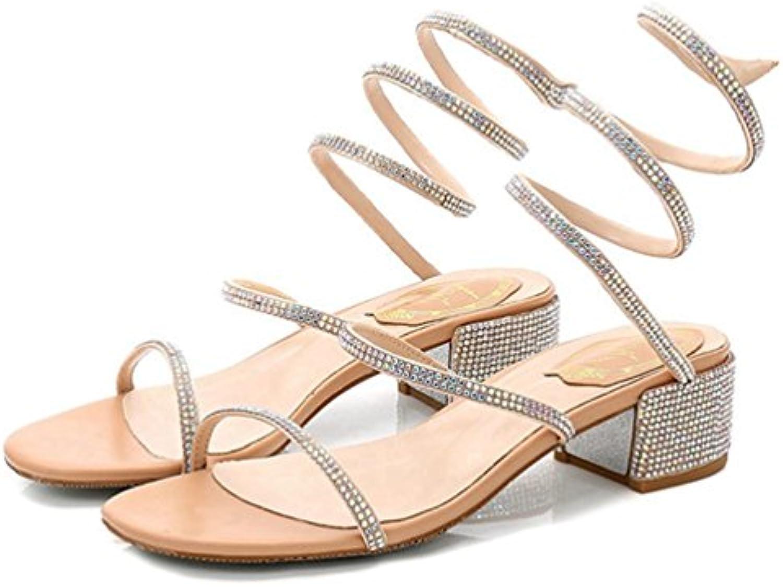 Women es Strass Kristall Peep Toe Wedding Dress Block Mid Heels Sandalen Slip auf Gladiator Sandale