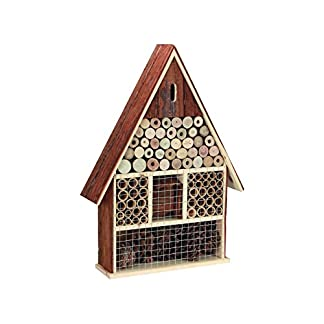 PEREL BB50503 Large Wooden Insect Hotel with Bark Roof 7