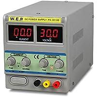 oukaning Fuente de alimentación de laboratorio dispositivo, 0–30V 0–10A 3010d normalmente Bar Red dispositivo estabiliza y pantalla digital Laboratorio fuente Fuente de alimentación medidores