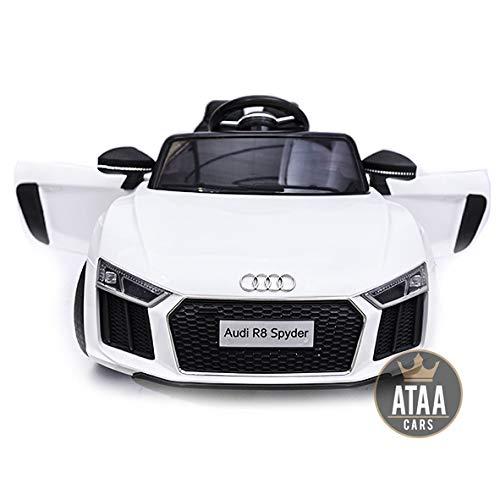 ATAA CARS Audi Spyder 12v -Séige en Cuir, clés, eva- Voiture électrique pour Enfants et Filles Télécommande 2.4Ghz- Blanc