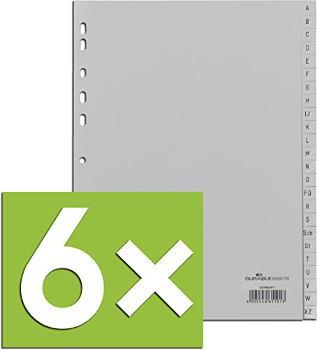 Durable Register A -Z, DIN A4, grau, PP, Universallochung, 24-teilig (6)