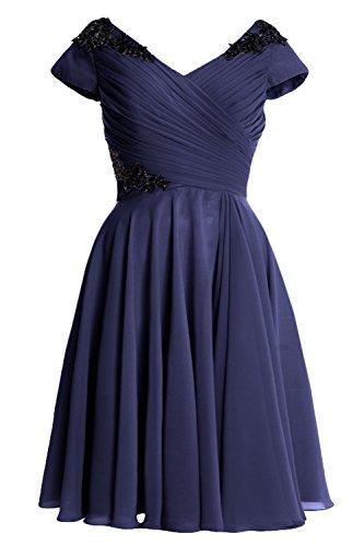 MACloth - Robe - Trapèze - Manches Courtes - Femme Bleu Marine