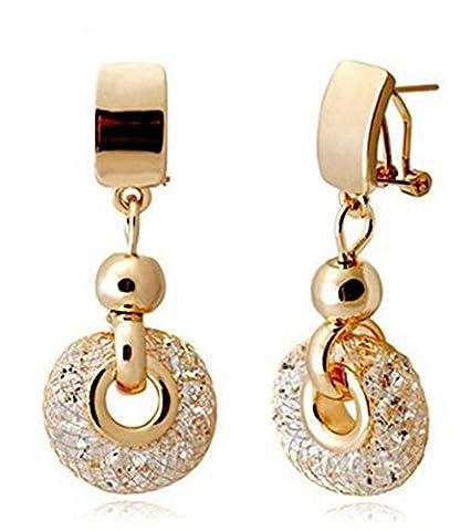 SaySure - 18K Champagne Gold Drop Earrings Wire Zircon