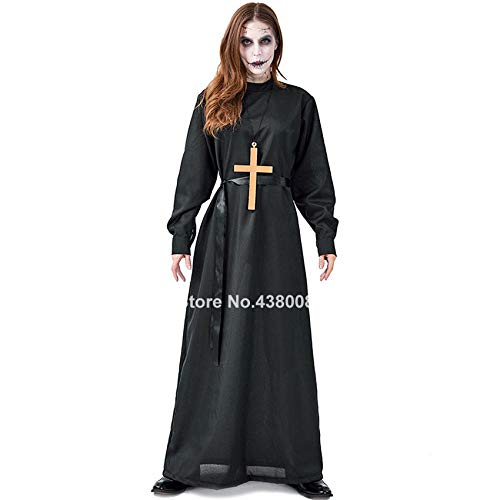 Halloween Costume,Costume Cosplay Medievale Halloween per Uomo Donna Abito da Suora missionaria Abito Gotico Spaventoso Horror in Maschera da Diavolo@Un Solo Vestito_XL