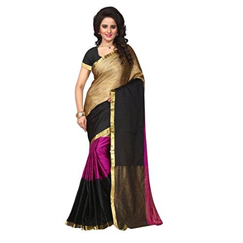Craftsvilla Women's Tussar Silk Pink & Black traditional Saree with unstitched Blouse...