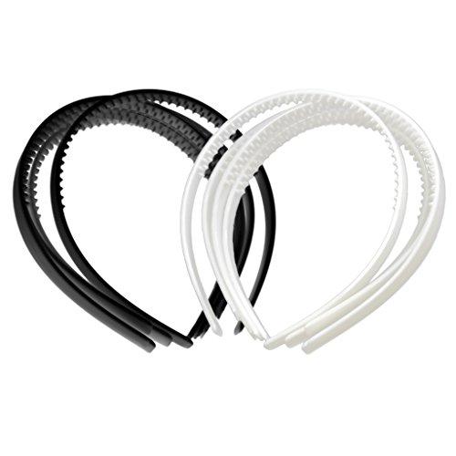 Sharplace 10pcs Bandeau Plat Cerceau de Cheveux Style Simple en Plastique Noir