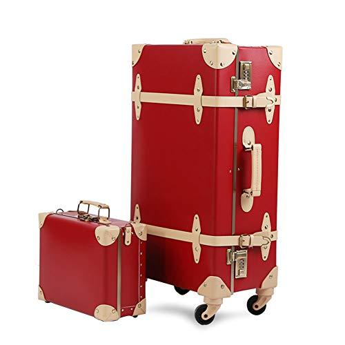 XDD Retro PU Gepäck mit 4 Spinner Universal Rad Handgepäck Set 2 Stück für Damen und Herren 22