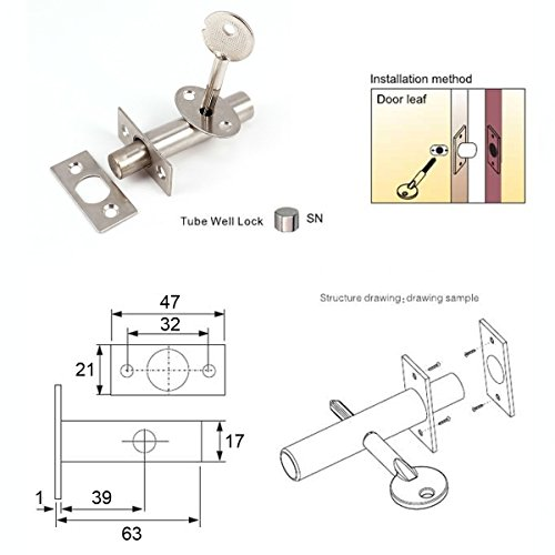 Bulk Hardware BH03299 63 mm Cerrojo para Puerta Cromado Llave y