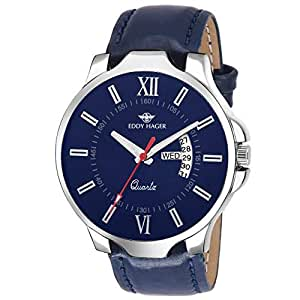 Eddy Hager Blue Day and Date Men's Watch EH-106-BL
