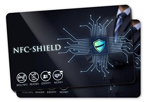 2X NFC Shield Card - RFID & NFC Schutz/Blocker - Made in Germany - Schützt Das gesamte Portmonnaie & Kartenetui mit Ihren EC und Kreditkarten - Nie Wieder RFID Schutzhüllen notwendig - Cellular Shield