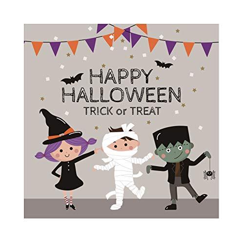OERJU 1,5x1,5m Halloween Hintergrund Cartoon-Hexe Zombie Mama Ammer Hintergrund Halloween Party Fotografie Süßes oder Saures Kinder Party Banner Dekoration Porträt