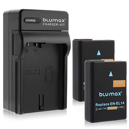 Blumax 2X Ersatzakku für Nikon EN-EL14 / EN-EL14a 1100mAh Ladegerät für Nikon EN-EL14 für Nikon Nikon D3100 D3200 D3300 D3400 D5100 D5200 D5300 D5500 D5600 - Nikon Coolpix P7100 P7000 P7800