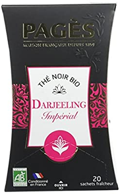 PAGÈS Thé Noir Darjeeling Bio 20 Sachets 36 g - Lot de 4