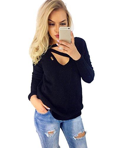 Donna Collo Cavo Maniche Lunghe Pullover Maglia Maglione Girocollo Casuale maglioni Sweatshirt Tops Maglietta Sweater Nero
