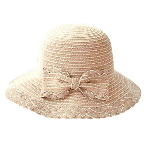 EUCoo Damen Sommerhut Blende Faltbarer Sonnenschutz Sonnenhut Bogenstrohhut Strandsand Fischerhut(Khaki)