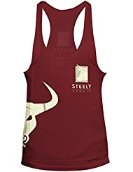 "Stringer ""Classic-"" Logo color rojo Tank Top-Camiseta deportivo Bodybuilding Fitness-Steely-Sports"
