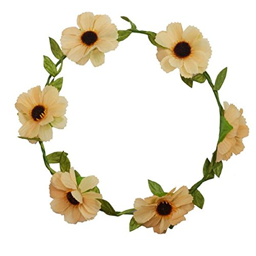 - Kranz Blumen orange–Schmuck mit Kopf–Zubehör Haar Damen oder Kinder (Kind Kopf Kranz)