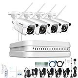 ANNKE 8CH HD 1080P Funk Überwachungskamera System Wireless HDMI NVR mit 4 Außen 1080P WLAN Kamera Video Überwachungsset Indoor / Outdoor, 30M IR Nachtsicht, Schnellzugriff, Bewegungserkennung(no HDD)