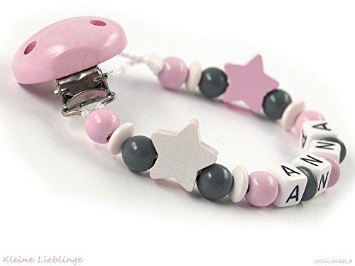 Schnullerkette mit Namen Mädchen Holz - Sterne - rosa grau weiß Buchstaben - Baby