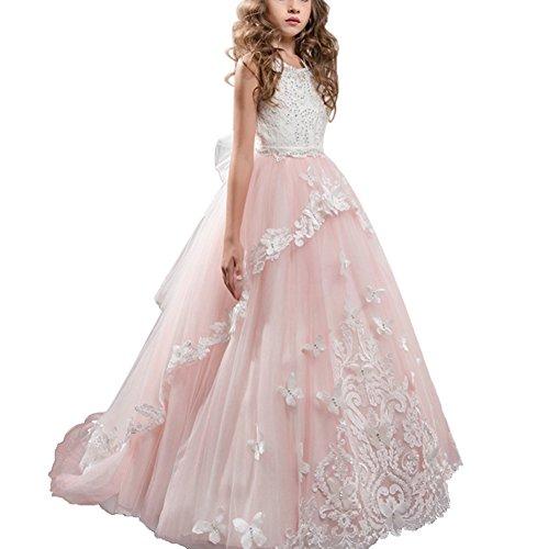 OBEEII Mädchen Kinder Lace up Tüll Hochzeit Brautjungfer Kommunion Party Bowknot Kleid Formale...