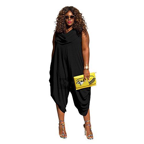 50er Kostüme Jungs Jahre (BaBag Damen Plissee Einfarbige Overall Ärmellos Lose Plus Size Overall (XL,)
