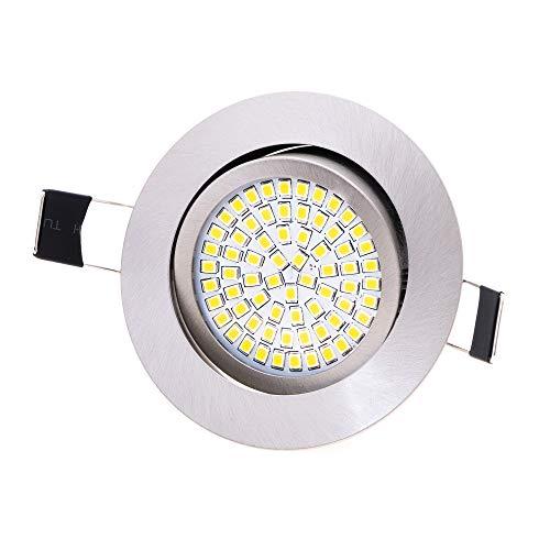 Lu-Mi LED Einbaustrahler flach 230V | Ultra Flach Einbauleuchte Deckenspot | 350 Lumen | 230V | 3,5W | Licht: Kaltweiss 6000K | Gehäuse Rund (Edelstahl gebürsted - Optik)