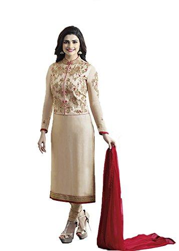 Designer Desk Women's Crepe Silk Dress Material (152F4F03DM_Free Size_Beige)