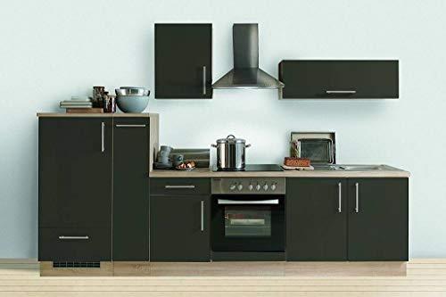 idealShopping GmbH Küchenblock mit Glaskeramikkochfeld und Klappenhängeschrank Premium 300 cm in Lava glänzend
