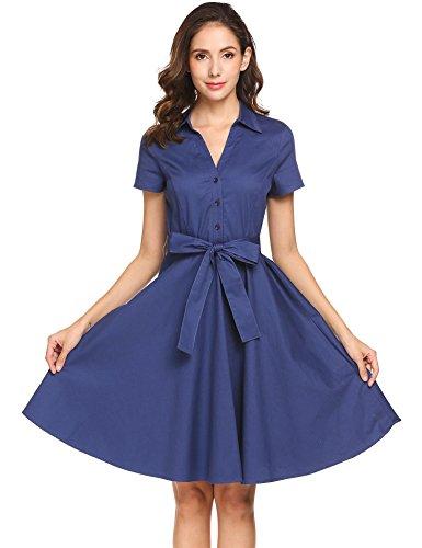 Meaneor Damen Hemdblusenkleid Elegantes Sommerkleid Kurzarm mit Gürtel Schleife Cocktailkleid Partykleid Blusenkleid Knielang aus Baumwolle Stretch