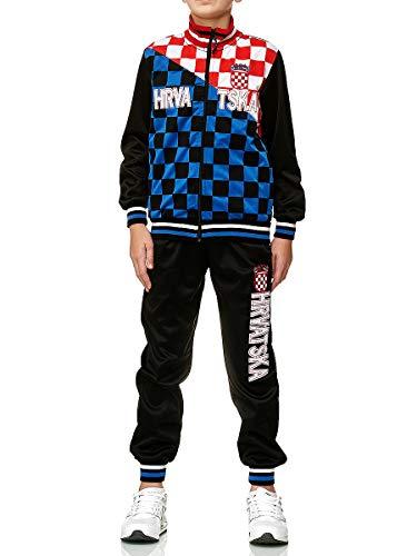 XRebel Jungen Kinder Jogging Anzug Jacke Sport Hose Fitness Hoodie Hose Fan Deutschland Türkei Kroatien (Kroatien, Gr.14(152~158))