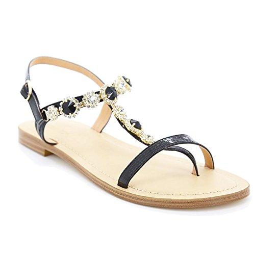 Toocool - Scarpe donna sandali infradito gioiello strass ciabatte flat Queen Helena 6003 Nero