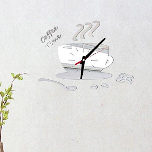 Zarupeng DIY Digitale Wanduhr des Kaffees, Removable Acryl Uhr ohne Tickgeräusche 3D Spiegel Wandaufkleber Dekorationen für Wohnzimmer Schlafzimmer (One Size, Silber)