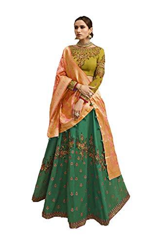 Indian Women Designer Partywear Ethnic Traditional Green Lehenga Choli. Olive Green Silk Saree
