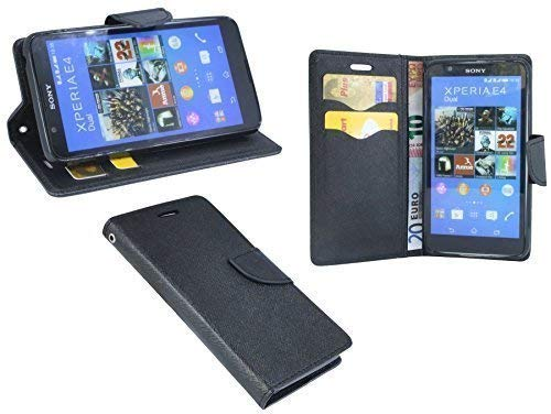 ENERGMiX Buchtasche kompatibel mit Sony Xperia E4 Hülle Case Tasche Wallet BookStyle in Schwarz (E4 Sony Xperia)