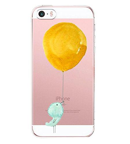 Pacyer iPhone SE Hülle Silikon Ultra dünn Transparent iPhone 5S iPhone 5 Handyhülle Rückschale TPU Schutzhülle für Apple iPhone SE/5S/5 Case Cover Mädchen Elefant Federn (5)
