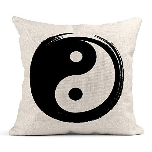 Ale haung Telo Copri Cuscino Stampa Pennello Yin Yang in Cerchio Zen Duality Abstract Federa da Un Lato Design Home Sofa Decor45x45 cm