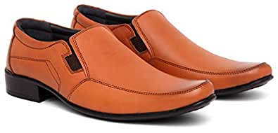 WildHorn 100% Genuine Leather Formal Shoes for Men- Real Leather (6, TAN)