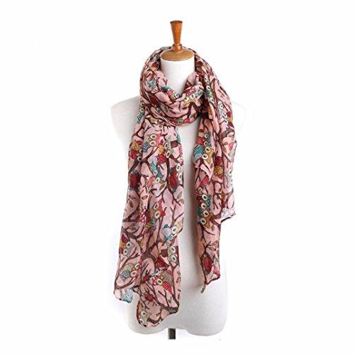 Zolimx Frauen Dame Eulen langer Schal Warm Verpackungs Schals (Rosa)