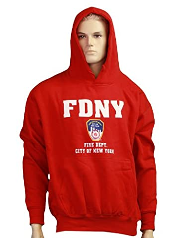 FDNY Hoodie Screen Print Fire Dept Sweatshirt Red Large