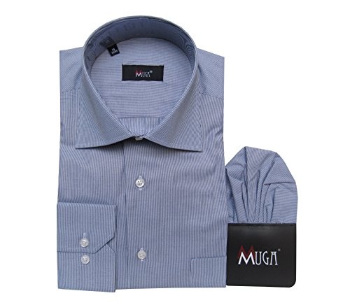 MUGA -  Camicia classiche  - A righe - Classico  - Maniche lunghe  - Uomo Dunkelblau