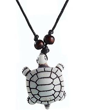 Cameleon-Shop-Halskette mit Schildkröten-Anhänger, herausziehbarer Boden, Box, Kunststoff, weiß verstellbare Größe...